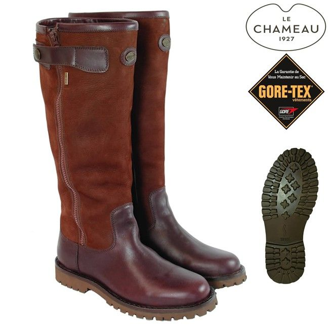 Le Chameau Unisex Footwear - Jameson Zip Gore-Tex brown leather boots FREE  Boot Bag