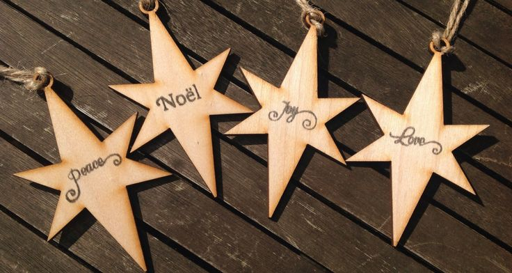 Rustic Hand printed wooden star Christmas decorations four with natural jute twine by Kitschins on Etsy