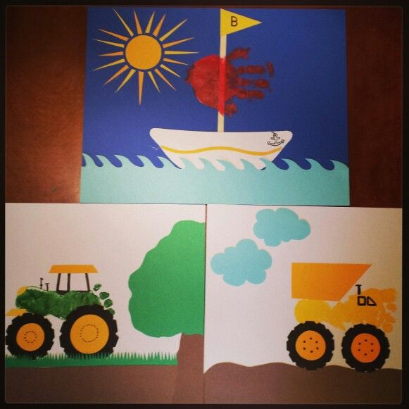 Footprint art preschool craft pinterest footprint for Tractor art projects