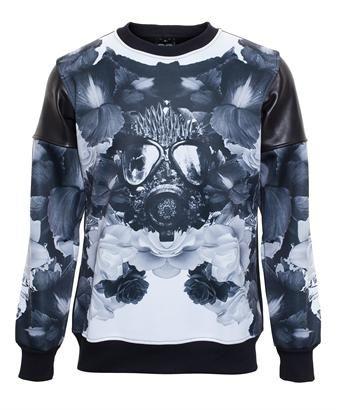 CHI ZHANG - Black Floral Print Sweatshirt