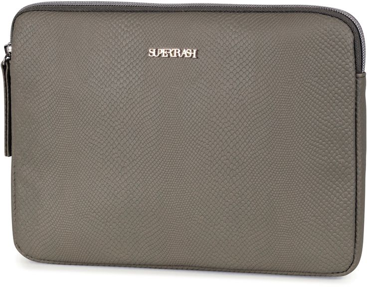 Een Supertrash dames tablet of Ipad hoes, waar de buitenzijde gemaakt is van kunst Hagedissen leer. Met een grote midden vak. Bovenaan kan de tas afgesloten worden met een ritssluiting. Met een vulling voor de stevigheid een rits voorzien van een textiel koord. Het formaat is 18 x 25 x 2 cm. Met een nieuwe gouden metalen plaat met een Supertrash logo. Het gewicht is 110 gram en verkrijgbaar in de kleuren zwart en safari groen. Afmeting: 20x180x250 mm. - Tablet sleeve Supertrash green: 18x25…