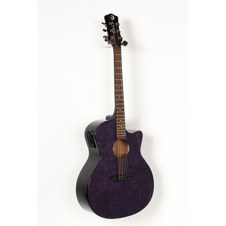 Luna Guitars Gypsy Grand Concert Quilt Ash A/E Guitar Trans Purple 888365604619 #LunaGuitars