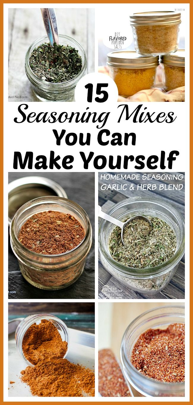 15 Seasoning Mixes You Can Make Yourself- Tired of the high price of commercial seasoning mixes? Check out these easy seasoning mixes you can make yourself to save money! | seasoning recipes, spice mix, burger seasoning, fajita seasoning, homemade Italian seasoning, chili seasoning, pumpkin pie spice, gingerbread spice mix, made from scratch