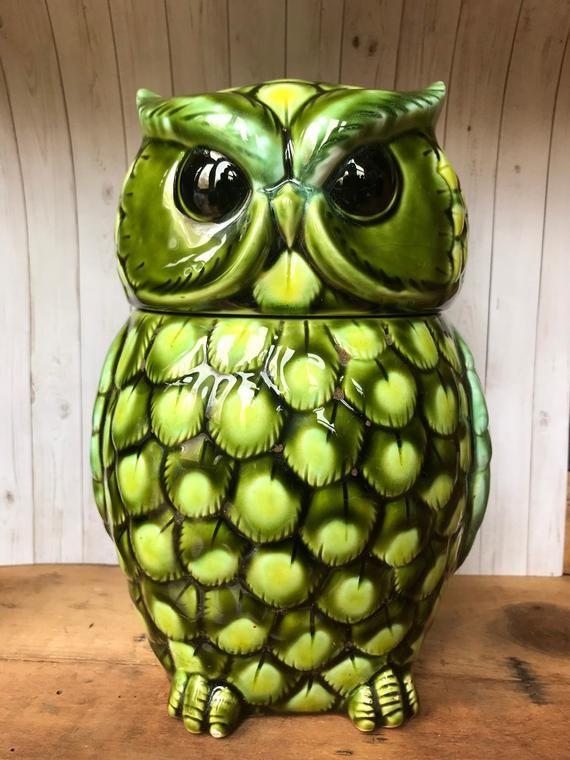 Vintage Green Owl Cookie Jar Ceramic Retro Hand Painted In 2020 Owl Cookie Jar Owl Kitchen Cookie Jars Vintage