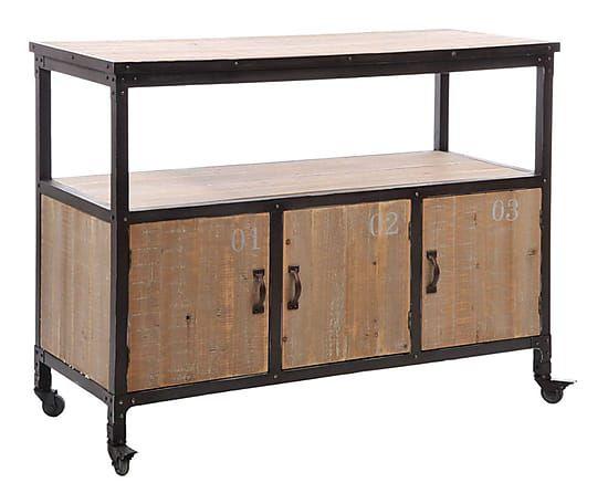 Buffet bois de sapin et métal, naturel et noir  L110