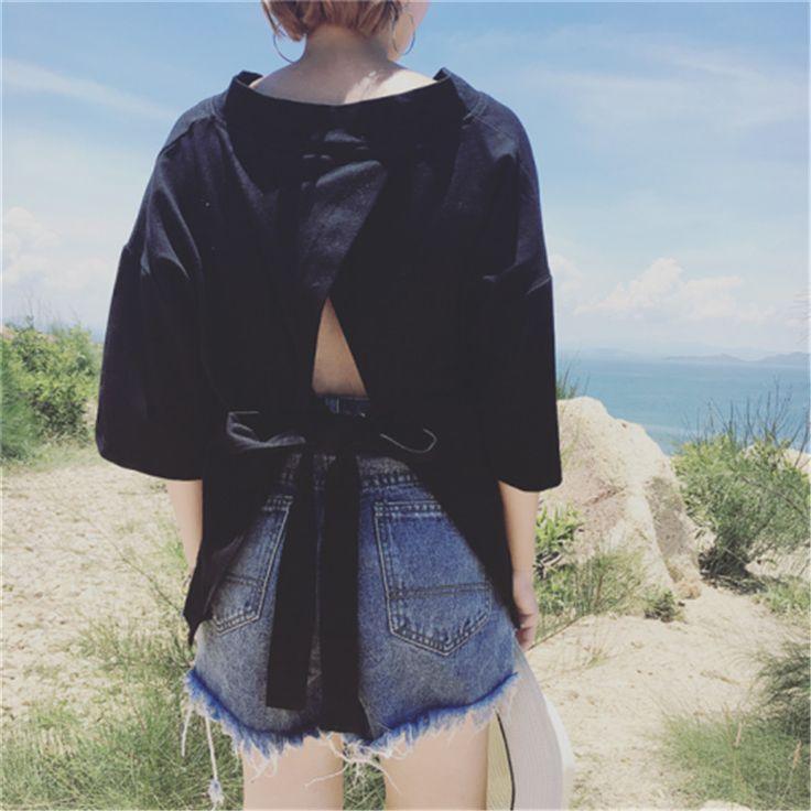 Korea Summer Backless With Bow Women T Shirt  Bandage Hollow Out Black Tee Japanese harajuku Loose V Neck Casual Female Tops
