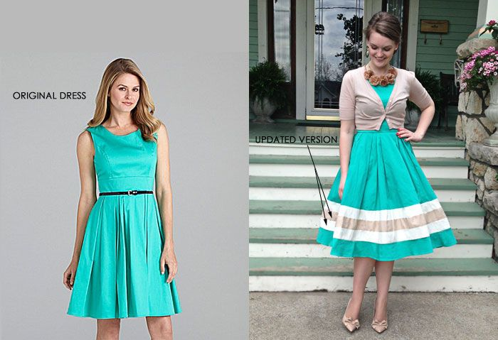 To lengthen a skirt, cut off a strip on the bottom, add two or three strips of coordinating color and then sew the original strip back to the bottom.  Love the lengthened dress!