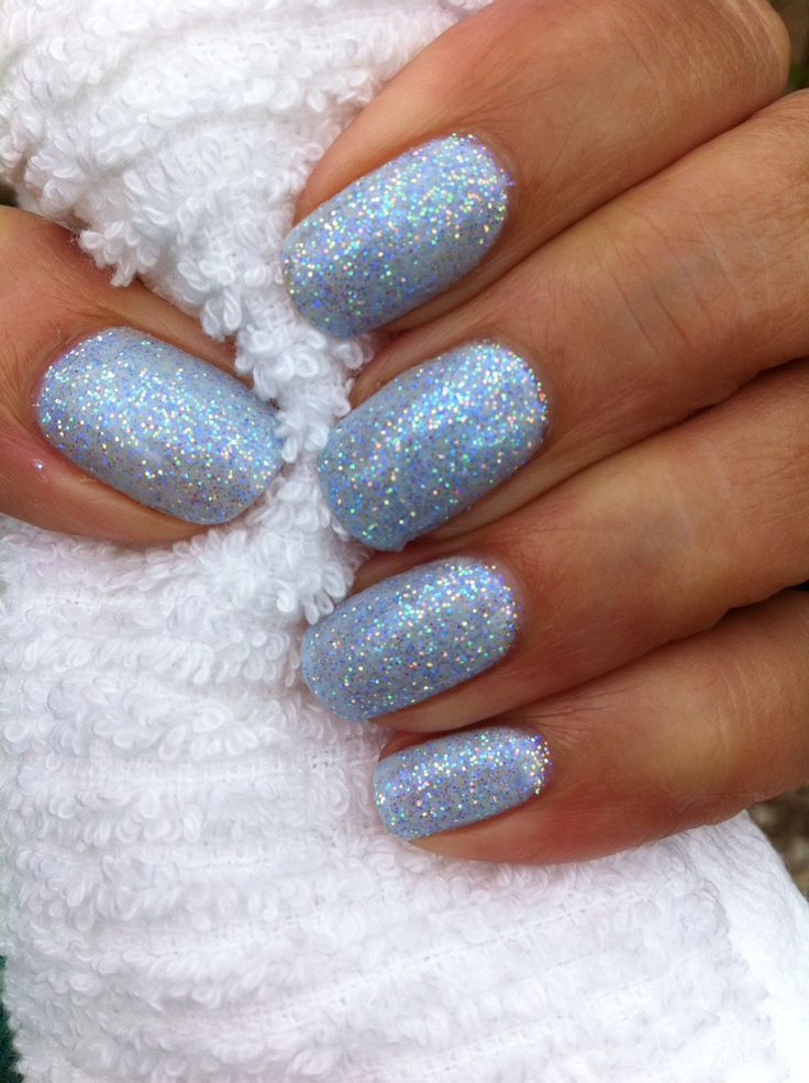 CND creek side with baby blue Lecente glitter