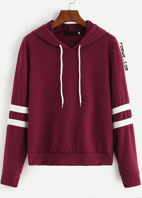 Burgundy Varsity Striped Drawstring Hooded Sweatshirt