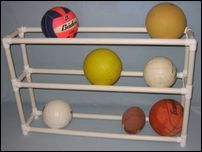 PVC Ball Organizer - Great for the garage