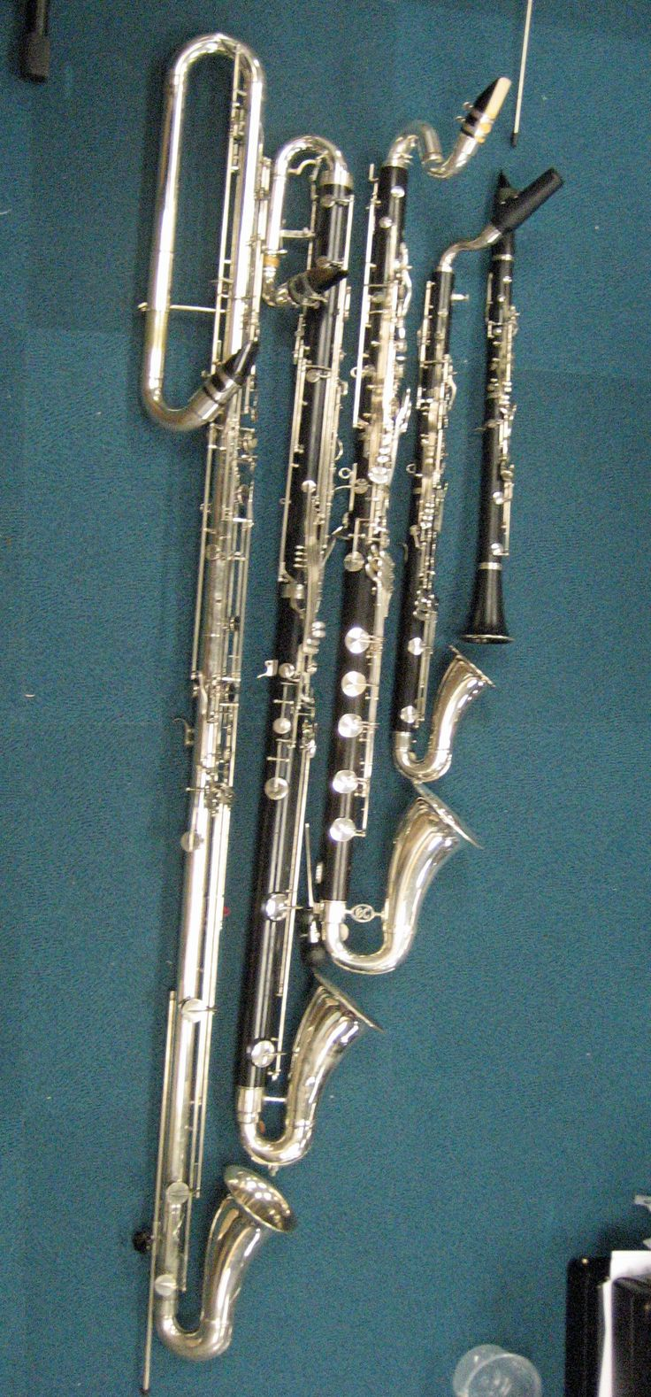 clarinets  you see that small one? thats what i play! its a b flat clarinet ive always wanted to learn to play the e flat clarinet though