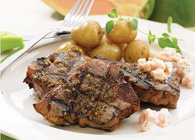 Côtelettes d'agneau à l'ail, sauce froide à la papaye et à la menthe Recette Le Guide Cuisine