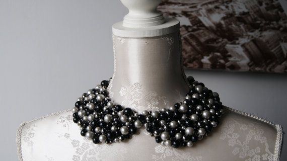 Handmade collar necklace with black grey silver pearls beads beaded detachable peter pan collar women accessories round shape removeable