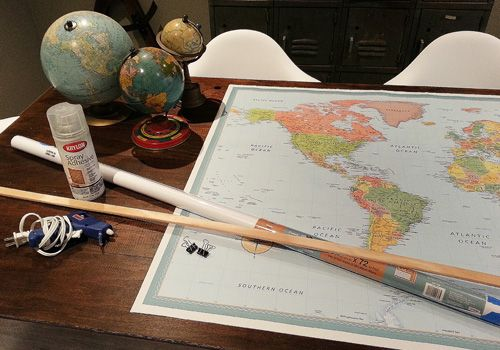 Create a Fun Schoolhouse Look With a Pull-Down Map | PlanItDIY