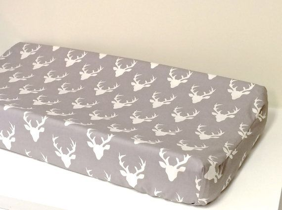 Changing Pad Cover - Hello Bear - Buck Forest in Mist Grey - Contoured - White and Grey - Deer Antlers - Baby Changer - Deer Head