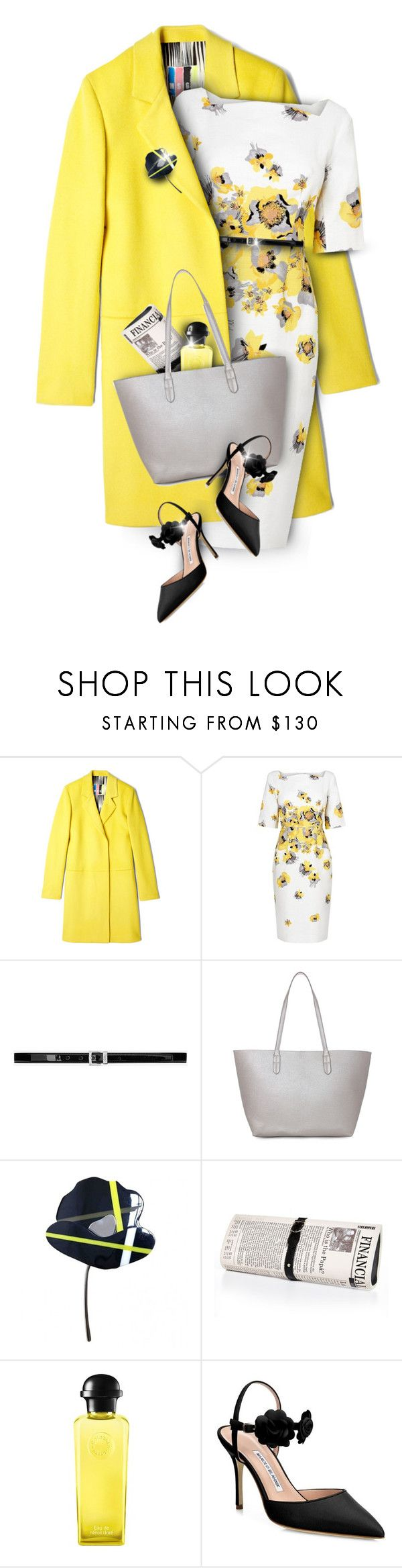 """""""Floral yellow"""" by kseniz13 ❤ liked on Polyvore featuring MSGM, L.K.Bennett, Yves Saint Laurent, Marni, Papà Razzi, Hermès, Manolo Blahnik, outfit, yellow and floral"""