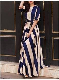 Navy Stripe Maxi Dress - Code Women