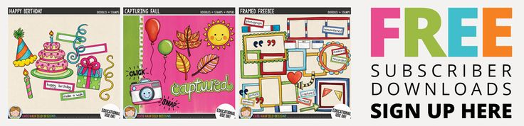 A selection of digital scrapbooking freebies: hand drawn doodles, free digital scrapbooking templates, printable projects, free clip art and journal cards!