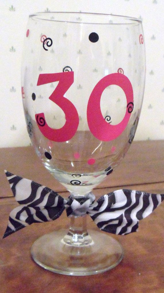 Fun & Fancy 30th Birthday glass by funfancyfunctional on Etsy,