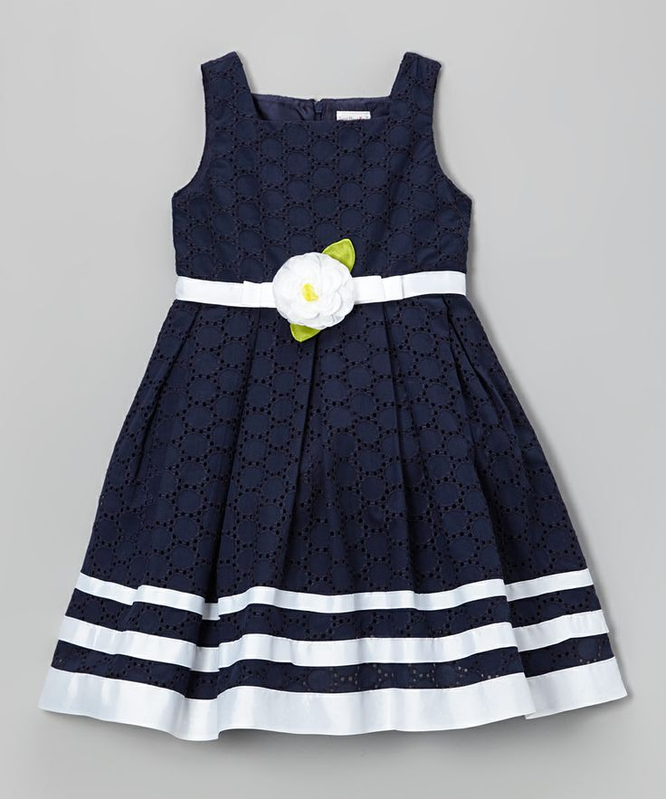 Navy Ribbon Eyelet Dress - Toddler & Girls | Daily deals for moms, babies and kids