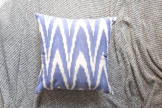 Blue & White Ikat Print Envelope Cushion Cover by trimandthread