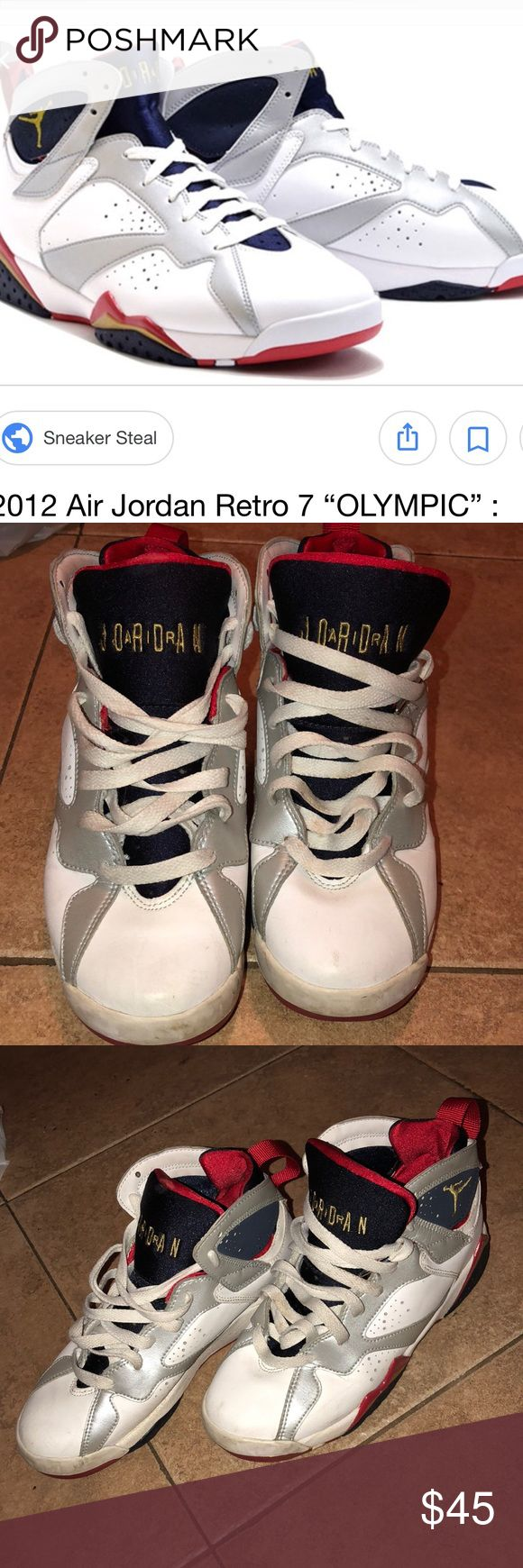 Jordan 7s Olympic 7 collection. Size 5 in men and 6.5 women! No box and no insole Jordan Shoes Sneakers