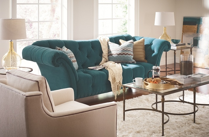 The Ella Sofa can be so many things. Bold colors with a romantic tufted back.