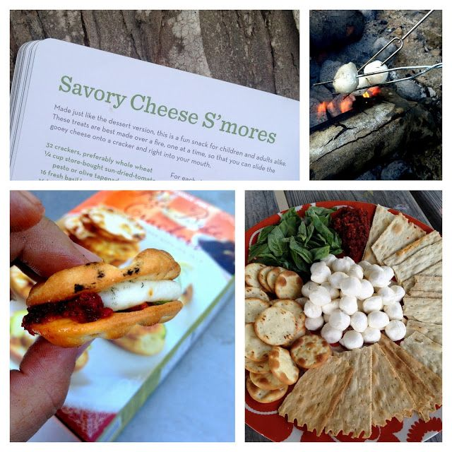 I am SO doing these Camp Rangers!  Campfire Savory Cheese S'mores!  use small balls of mozzarella for the marshmallow, olive tapenade of pesto to replace the chocolate and pita crackers!!