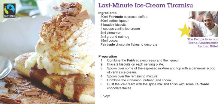 Recipe using #Fairtrade #Coffee from our Brand Ambassador Chef Reuben Riffel: Last minute Ice-Cream Tiramisu