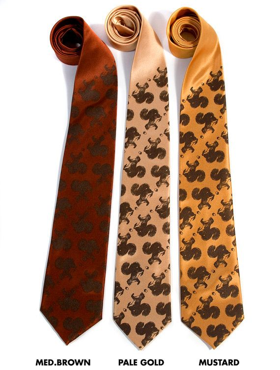 Secret Squirrel tie. Men's necktie. Chocolate brown squirrel & acorn screenprint on mustard, pale gold and more. Microfiber.. $30.00, via Etsy.      For my boyfriend... :D
