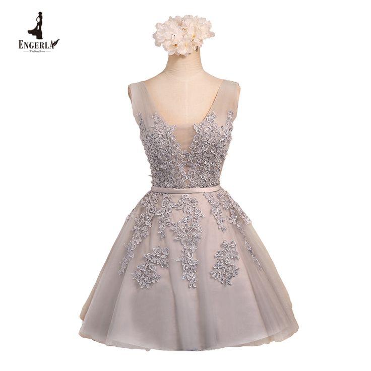Engerla sexy cuello en v de encaje vestido de dama de honor de tul vestido de bola real fotos en stock corto vestidos de fiesta 2017 vestido de verano