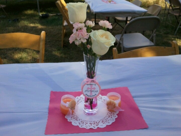 Flower vase centerpiece for girl baptism centerpieces