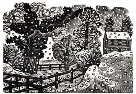 """""""Considerable Falls of Snow"""" by Eric Ravilious."""