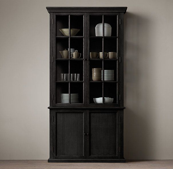 Hampton Casement Double Door Panel Sideboard Glass Hutch Dining Room