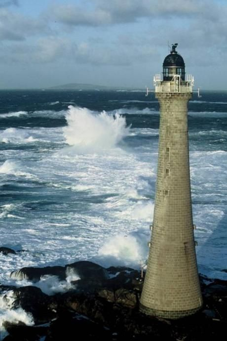 Skerryvore Lighthouse is on a remote reef that lies off the west coast of Scotland, Isle of Mull