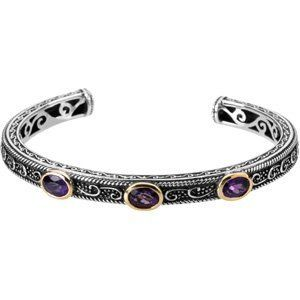 Sterling Silver and 14K Yellow Gold Gen Amethyst and Sapp Brc RedBoxJewels.com. $410.95