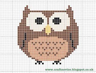 Free cross stitch owl pattern from Craft Novice.