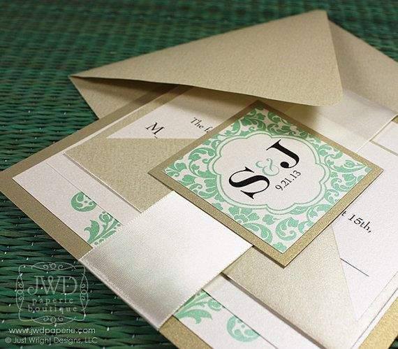 Elegant Wedding Invitation Light Gold Mint Green Wedding Invitation Luxury Flourish Wedding Invite wth Ribbon -  Kirkland - SAMPLE KIT