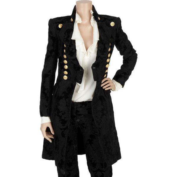 BALMAIN Black Brocade military coat ($14,140) ❤ liked on Polyvore featuring outerwear, coats, jackets, coats & jackets, tops, double-breasted coat, field coat, balmain coat, military coat and evening coat