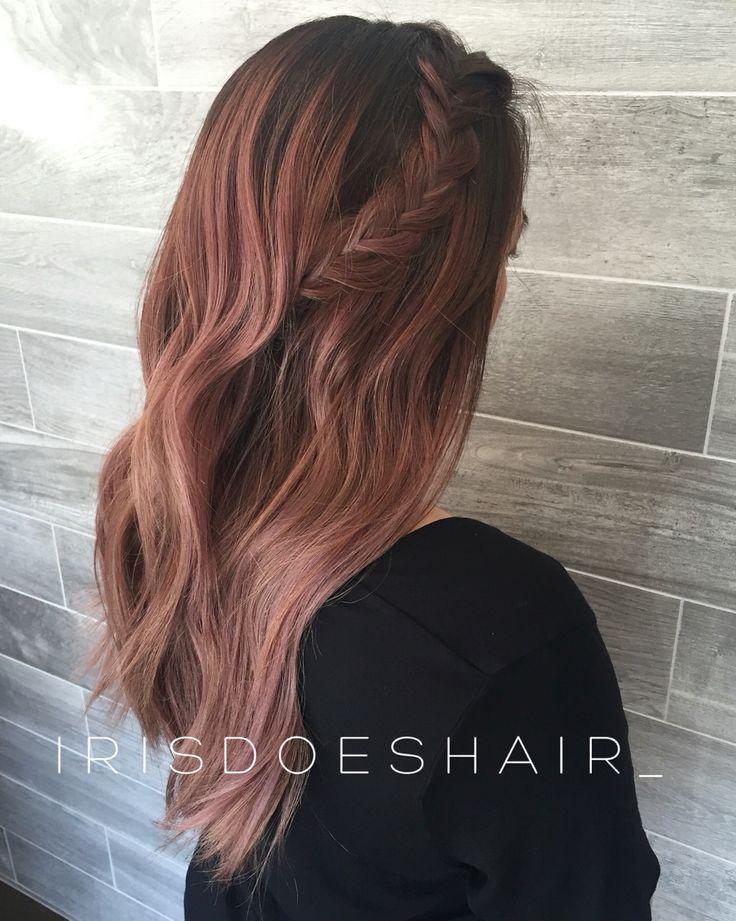 Rose gold balayage hair                                                       …