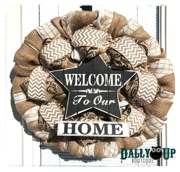 Welcome Wreath Decor , Welcome to our Home Wreath, Chevron Burlap Wreath, Wreath, Burlap Wreath, Year Round Wreath,  Burlap Decor, by DallyUpBoutique on Etsy