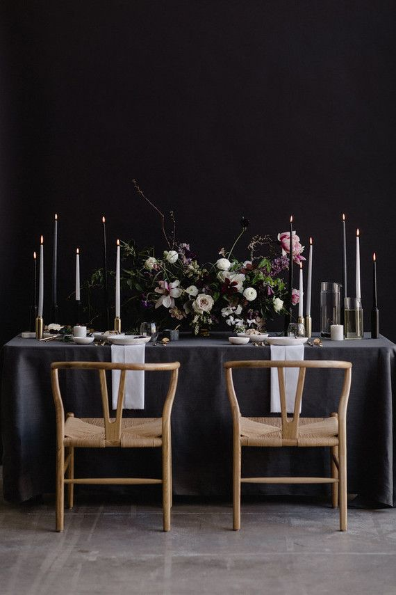 Moody modern wedding inspiration. Using colors of gray, burgundy, and faded green for flowers