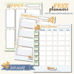 Free Printable Planners for January - Meal Planner, Shopping List and Weekly Planner