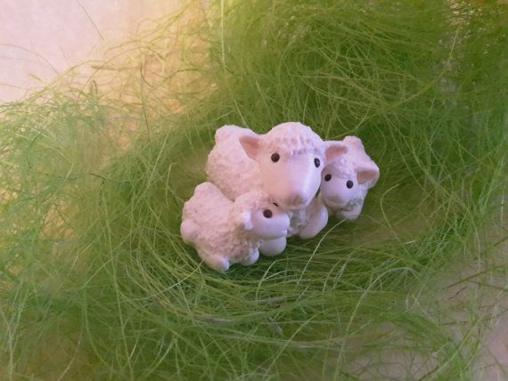 White cute smiling lamb with baby lambs Handmade by FiguresAnya