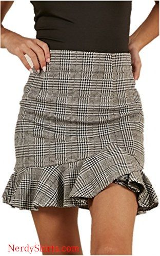 b1f6466817f1 katiewens Women's High Waist Classical Bodycon Plaid Ruffle Mini Skirt