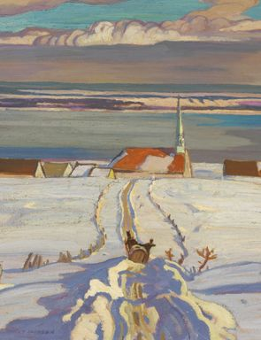 A.Y. Jackson, Winter, Quebec, 1926. Oil on canvas, 53.8 x 66.5 cm. National Gallery of Canada, Ottawa. I love the serenity of this charming image.