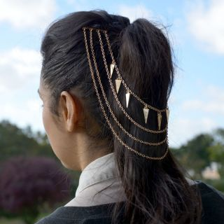 Hair Chain Jewelry | Celebrity Gold Kim Kardashian Geome Triangles Hair Chain Jewelry Head