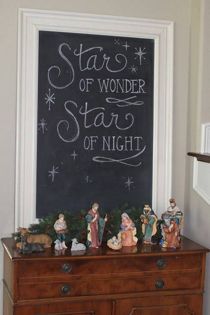 Right at Home: :: Christmas :: Decorating ideas Have a beautiful Manger set. This is a great idea.