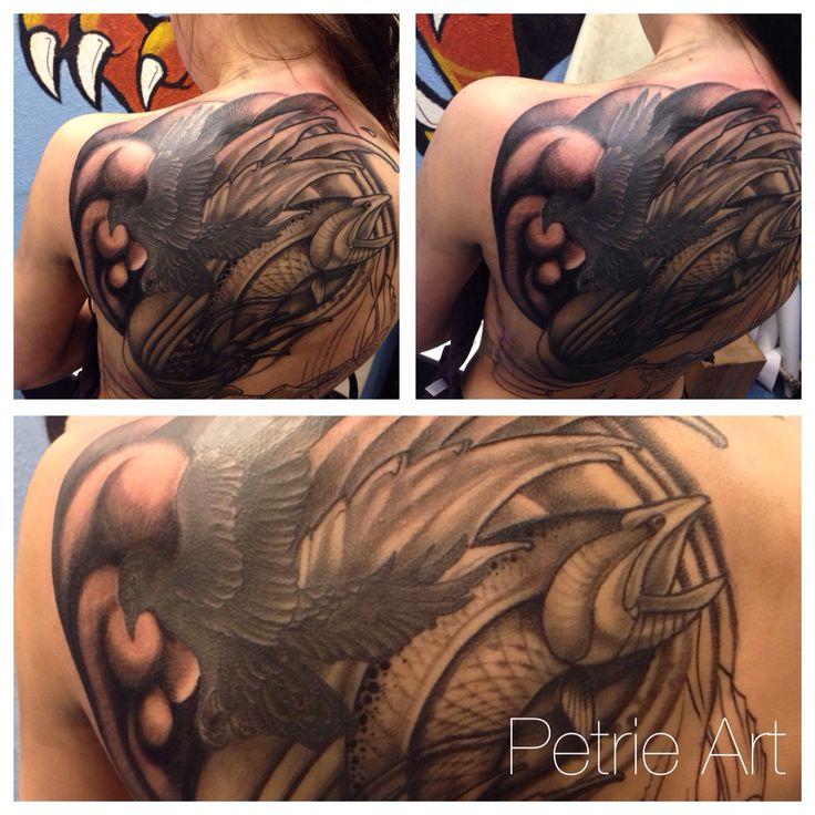 Progress on back piece at Petrie Art tattoo Helsinki