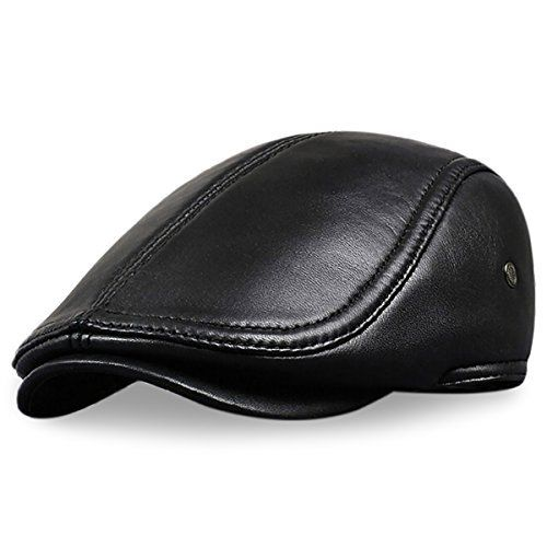 cae5fe8c Amazon.com: LETHMIK Flat Cap Cabby Hat Genuine Leather Vintage Newsboy Cap  Ivy Driving